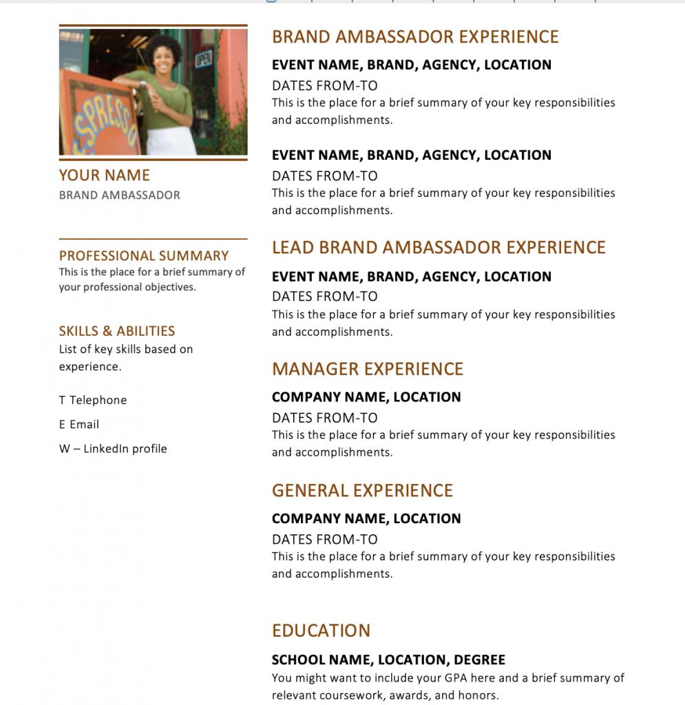 Brand Ambassador Resume Tips